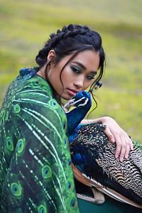 Model: Gina Setter Makeup: Evie Selaty  Hair: Aly Wenson Peacock handlers: David Riddle & Todd Gillihan