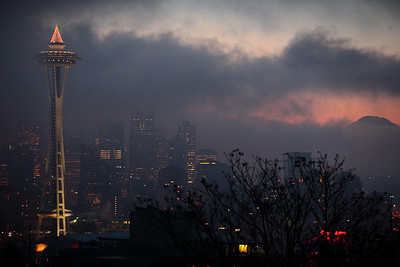 View of Seattle skyline from Kerry Park on a cold December morning.