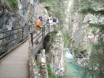 Johnston Canyon is 98 feet in places, and an ingenious walkway allowed us to travel into its depths.