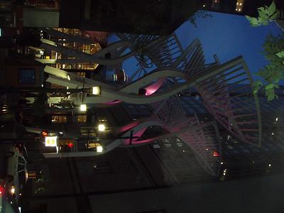 Glowing sculptures at the main pedestrian street.