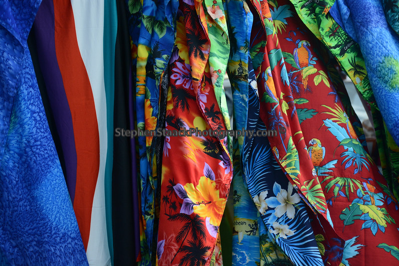 Colorful women's clothing blowing in Caribbean breezes of Marigot on Saint Maarteen.