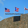 Flags flying At El Moro the old Fort in San Juan Puerto Rico.