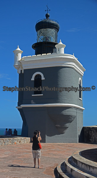 The lighthouse at El Morro, the old fort,  located in San Juan,  Puerto Rico.