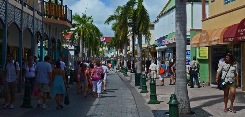 A street scene in Georgetown, the Dutch section, of Saint Maarten.