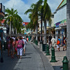A street scene in Georgetown, the Dutch section, of Saint Maarten.