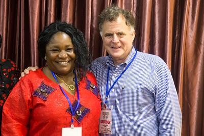 Monrovia, Liberia October 7, 2017 - Jordan Ryan and Juli Endee break between meetings.