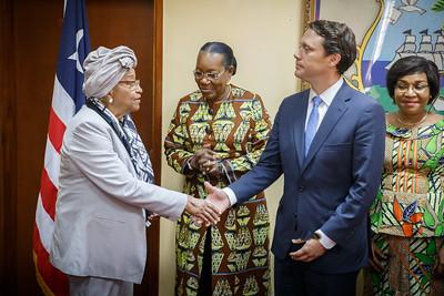 Monrovia, Liberia October 12, 2017 -  Jason Carter, Madame Samba-Panza and TCC leadership meet with Liberian president Ellen Johnson Sirleaf.