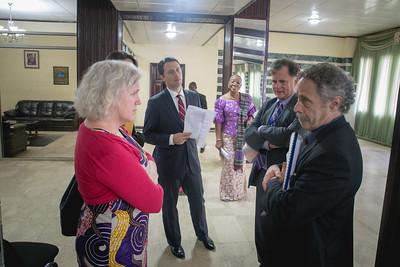 Monrovia, Liberia October 9, 2017 - Madame Samba-Panza, Jason Carter, Jordan Ryan, David Carroll, (Brett Lacy hidden) and Meahgan Fitzgerald wait to meet Liberian President Ellen Johnson Sirleaf.