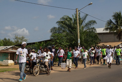 Monrovia Liberia October 5, 2017 - Political parties gather in the strrets to show support for their candidate prior to the 2017 presidential election.