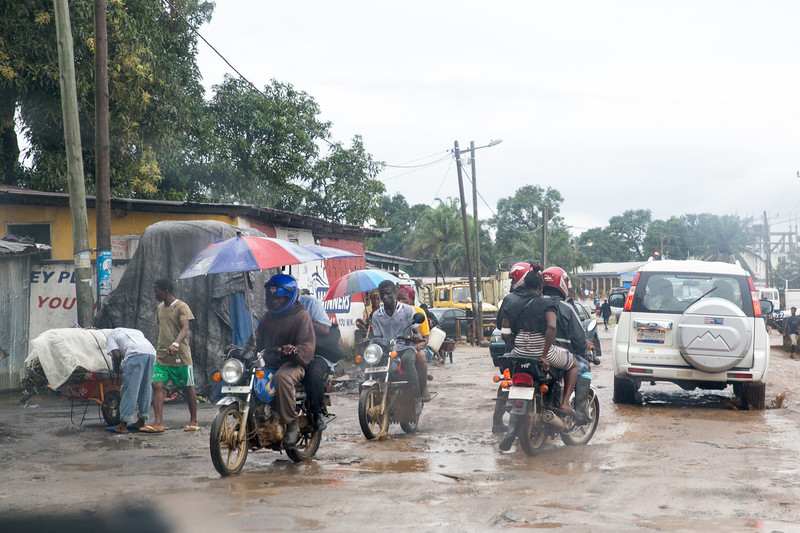 Monrovia, Liberia October 6, 2017 - Roads in the rainy season become challenging.