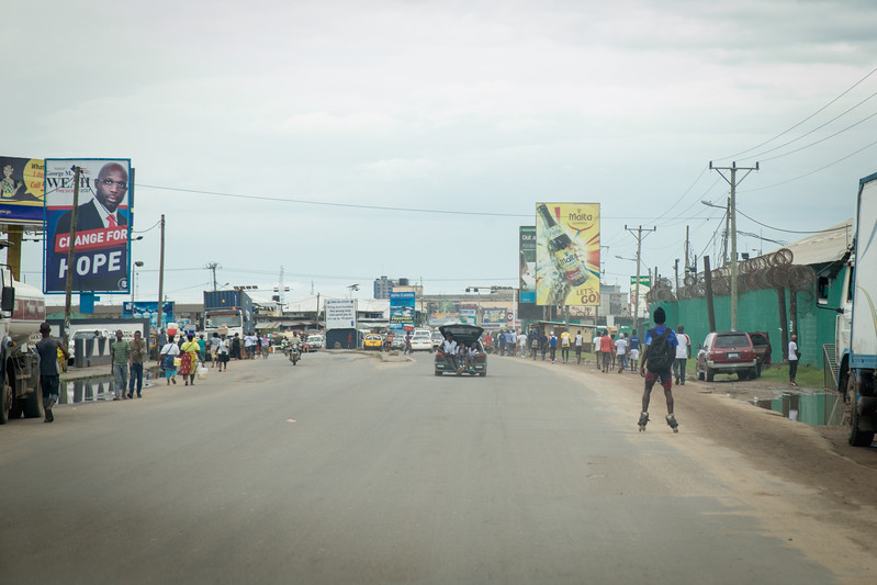 Monrovia, Liberia October 6, 2017 - Traffic in Monrovia.