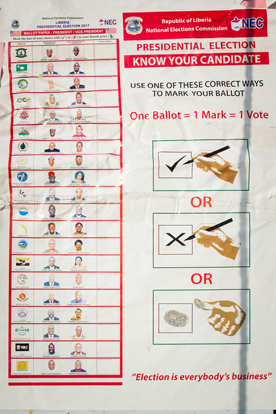 Monrovia Liberia October 5, 2017 - A flyer showing voters how to use the election ballot for the 2017 presidential election.