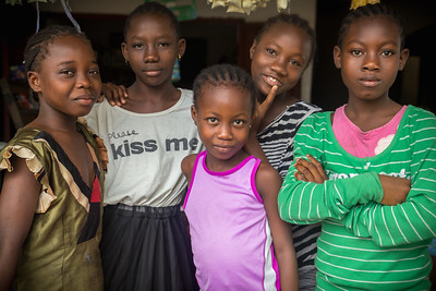 Monrovia, Liberia October 6, 2017 -  Girls pose for the camera.