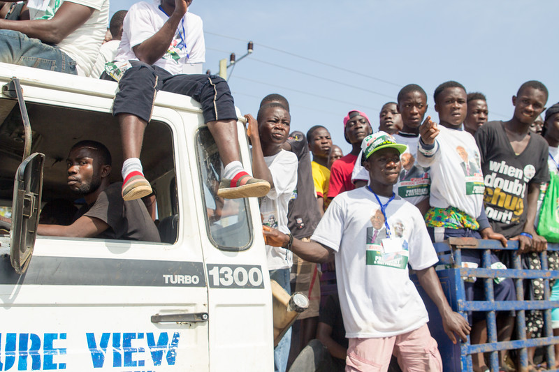 Monrovia Liberia October 5, 2017 - Political rally supporters gather in the strrets to show support for their candidate prior to the 2017 presidential election.
