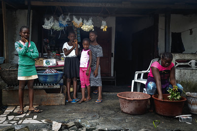 Monrovia, Liberia October 6, 2017 - Girls standing in front of a neighborhood store.