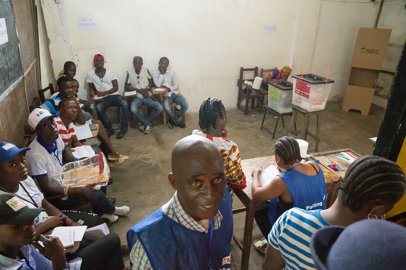 Monrovia, Liberia October 10, 2017 -  Workers at a polling station on election day.
