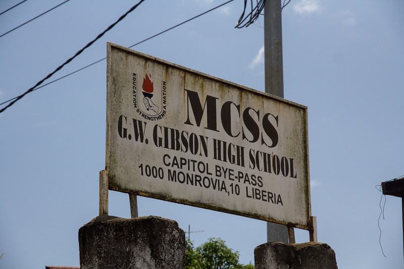 Monrovia Liberia October 5, 2017 - Signage for the GW Gibson High School.