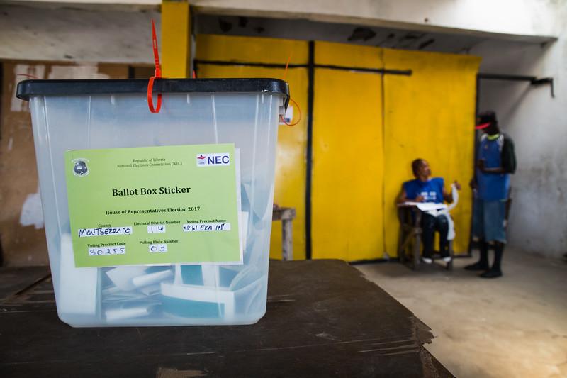 Monrovia, Liberia October 10, 2017 -  Ballot boxes on election day.