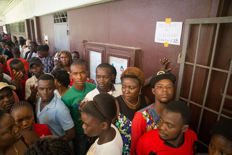 Monrovia, Liberia October 10, 2017 -  Voters at a polling station on election day.