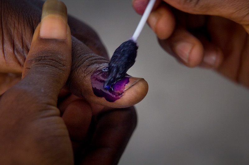 Monrovia Liberia October 10, 2017 - A finger is marked with ink on election day.