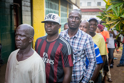 Monrovia, Liberia October 10, 2017 -  Voters stand in line on election day.
