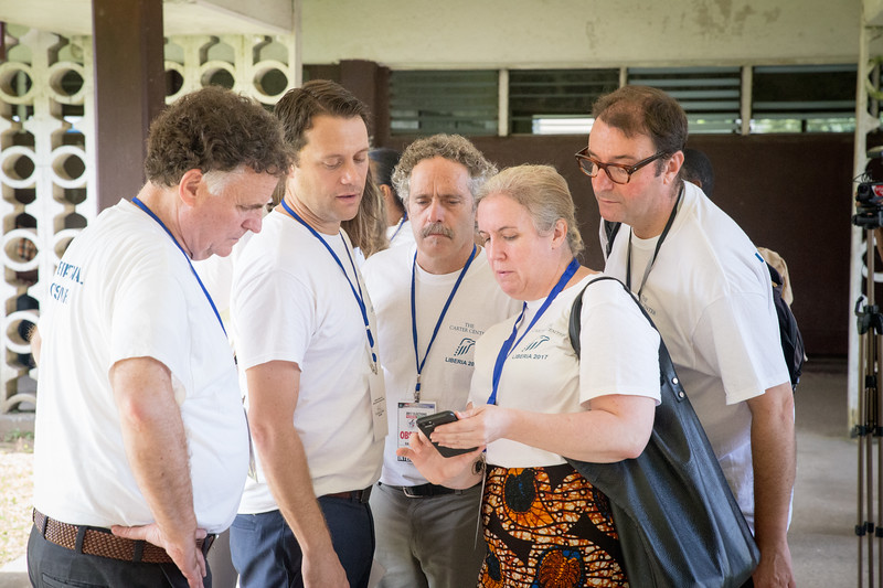 Monrovia, Liberia October 10, 2017 -  Jordan Ryan, Jason Carter, David Carroll, Meaghan Fitzgerald and Manuel Nogues monitor election activity across the country on election day.