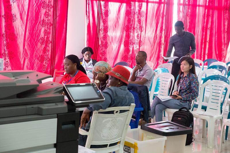 Monrovia, Liberia October 11, 2017 -  Tally center at the SDK Sports Complex.