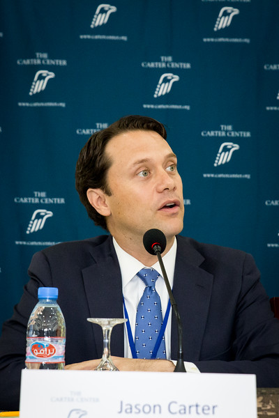 Monrovia, Liberia October 12, 2017 - Jason Carter speaks at TCC Press conference two days after the 2017 elections.
