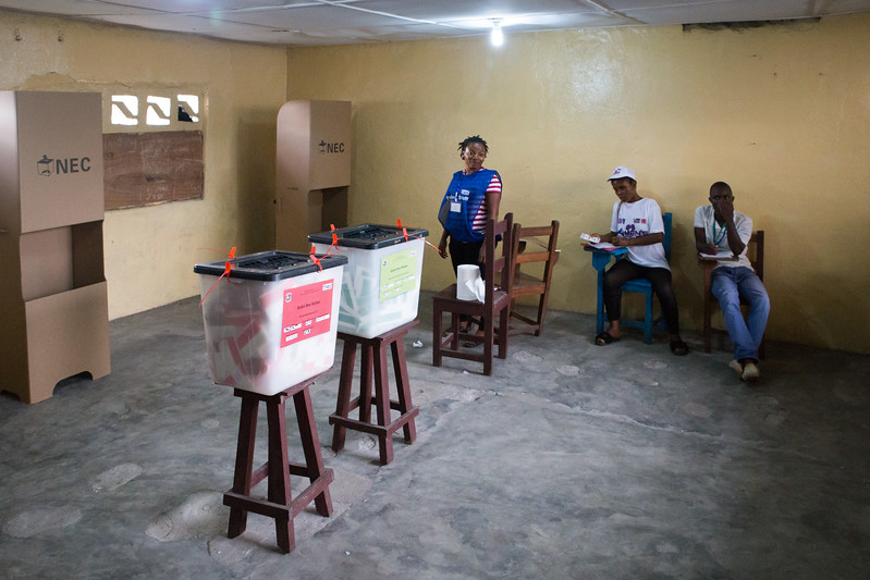 Monrovia, Liberia October 10, 2017 - A polling room awaits the next voter.
