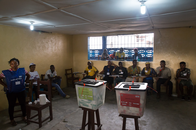 Monrovia, Liberia October 10, 2017 - Election observers in a polling room.