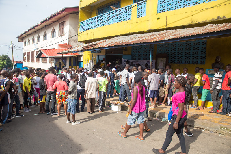Monrovia, Liberia October 10, 2017 -  Voters make their way through the entry point at a polling station on election day.