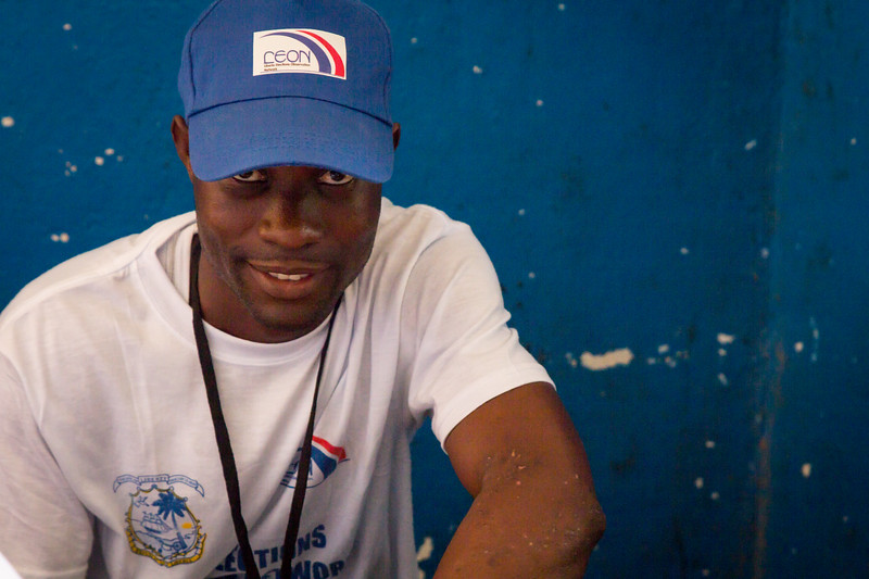 Monrovia, Liberia October 10, 2017 - A worker with the Liberian Election Observation Network on election day.