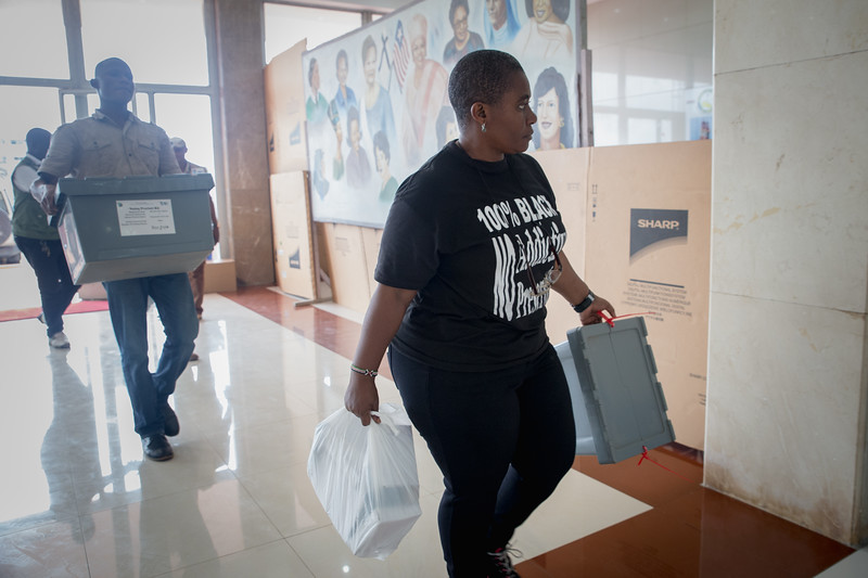 Monrovia, Liberia October 11, 2017 -  Voting precent kits arrive at the tally center at the SDK Sports Complex.