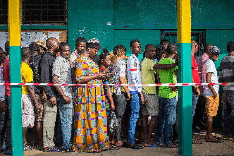 Monrovia, Liberia October 10, 2017 -  Voters standing in line on election day.