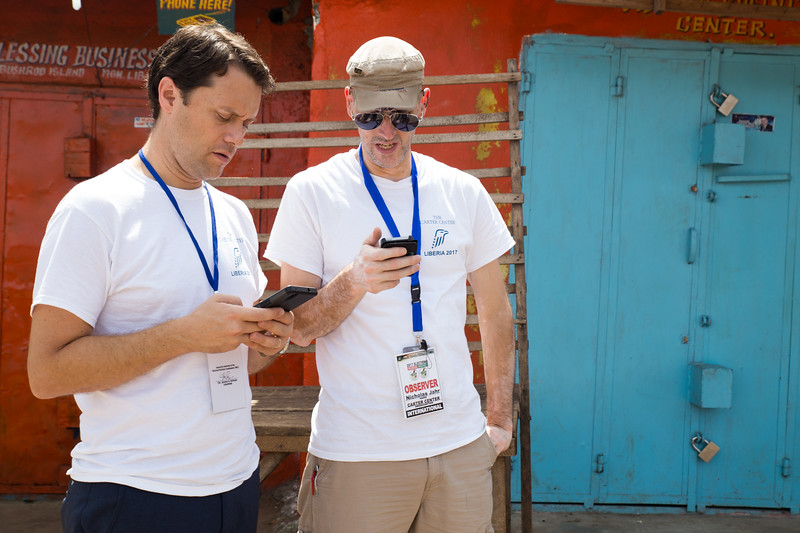 Monrovia, Liberia October 10, 2017 -  Jason Carter and Nick Jahr check in on voting activity around the country on election day.