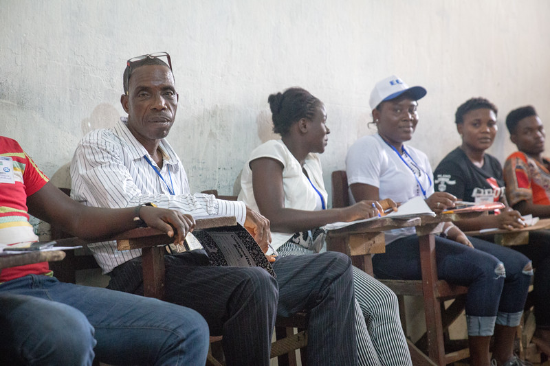 Monrovia, Liberia October 10, 2017 -  Election observers at a polling station on election day.