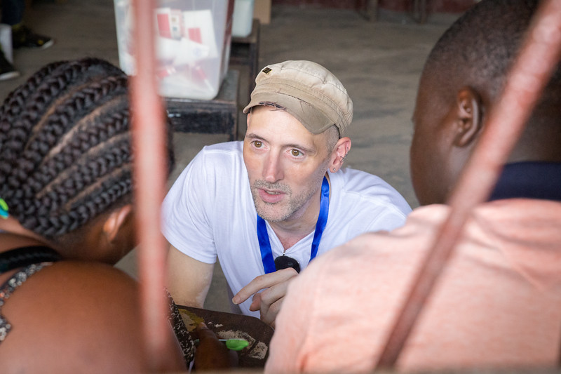 Monrovia, Liberia October 10, 2017 - Nick Jahr talks with election observers on election day.