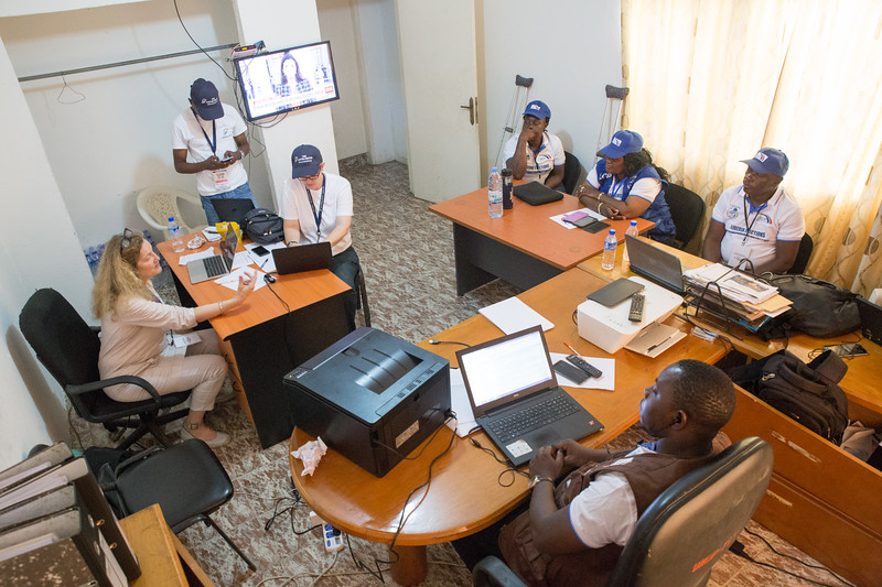 Monrovia, Liberia October 10, 2017 - Members of the Liberian Election Observation Network work on election day.