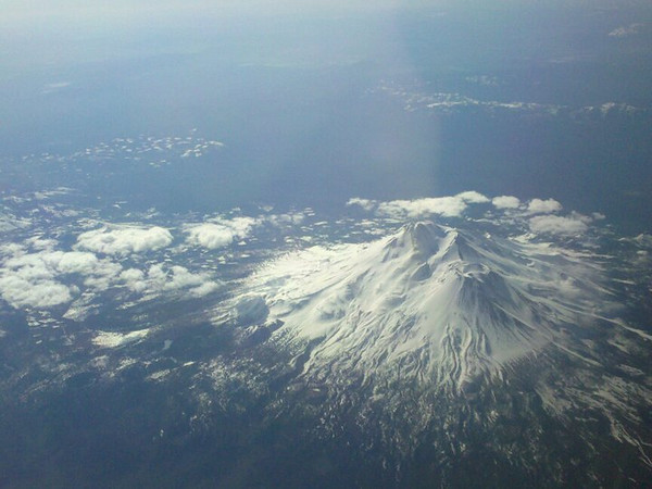 Mount Shasta - taken with my phone camera sa I flew over on 5.14.10