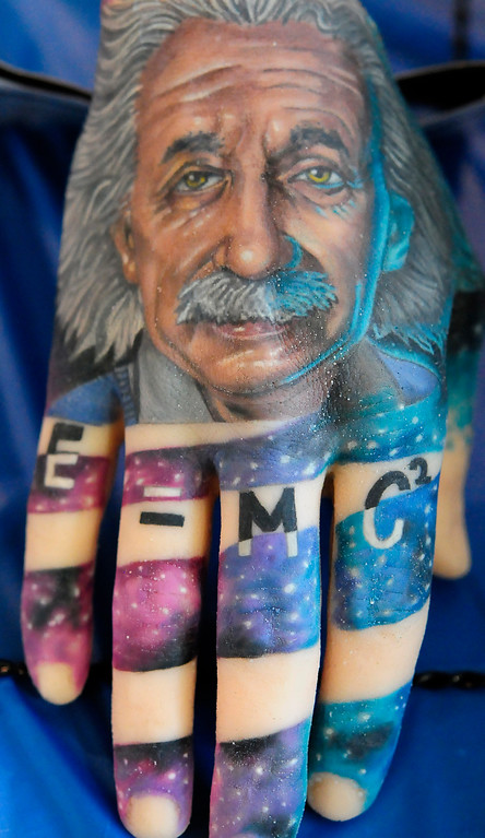 . (Chris Riley/Times-Herald) A detailed portrait of Albert Einstein is displayed on a practice hand at The Catalyst Tattoo Expo at the Solano County Fairgrounds in Vallejo on Friday.