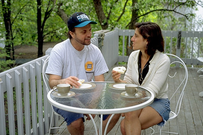 Interfaith Couple Eats Breakfast Outside