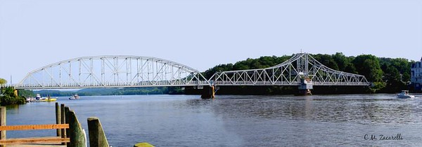 Bridge over the CT river, leading to the Good Speed opera House. Haddam CT.