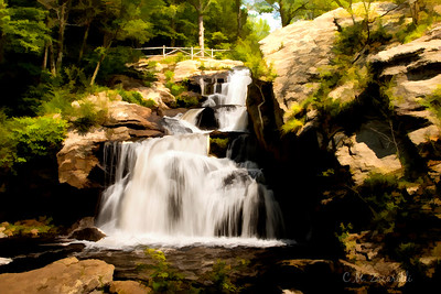 Devils Hopyard falls, Water Color effect. Devils Hopyard State Park, East Haddam Ct.