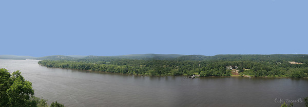 Pano of the CT. River from Back deck of Gillette Castle.Haddam CT.