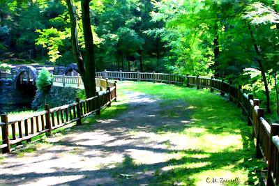 Trail and bridge over pond at Gillette castle State Park