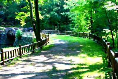 Trail and bridge over pond at Gillette castle State Park