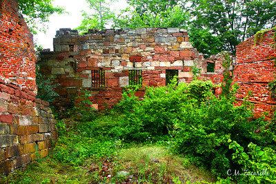"Ruins of the ""New"" Prison.. New gate soon had too many Inmates to keep ""Down in hell"" so they built an above ground unit, but because of heat in summer and freezing cold in winter, Inmates often chose to live in the mines where its a constant 59 degrees F and there were no bugs, rodents and weather.The New building housed ""about 200 or more"" inmates, sleeping two to a bunk! The Building was eventualy destroyed by a fire, set by the Inmates. Old New Gate Prison, East Granby CT"