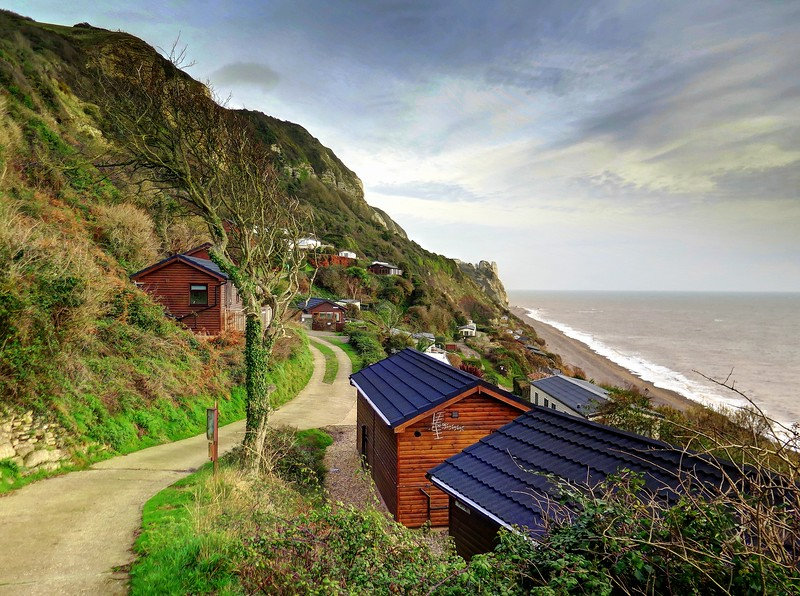 24 Dec 2016 - Hooken Cliffs, Branscombe  - The Coast Path along the 1790 land slip through the chalet park