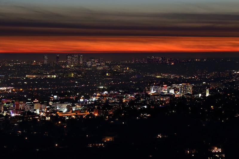 The West Side - Los Angeles<br /> Hollywood stretches across the bottom.  The tall buildings to the upper left are Century City.  West Hollywood and Beverly Hills are between the two.  The small clump of tall buildings to the right are in Santa Monica.