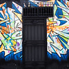 Black Door and Graffiti Mural - San Francisco